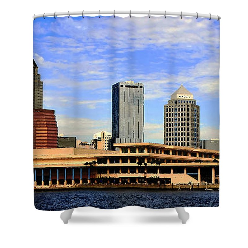 Tampa Bay Florida Shower Curtain featuring the painting Panoramic Tampa by David Lee Thompson