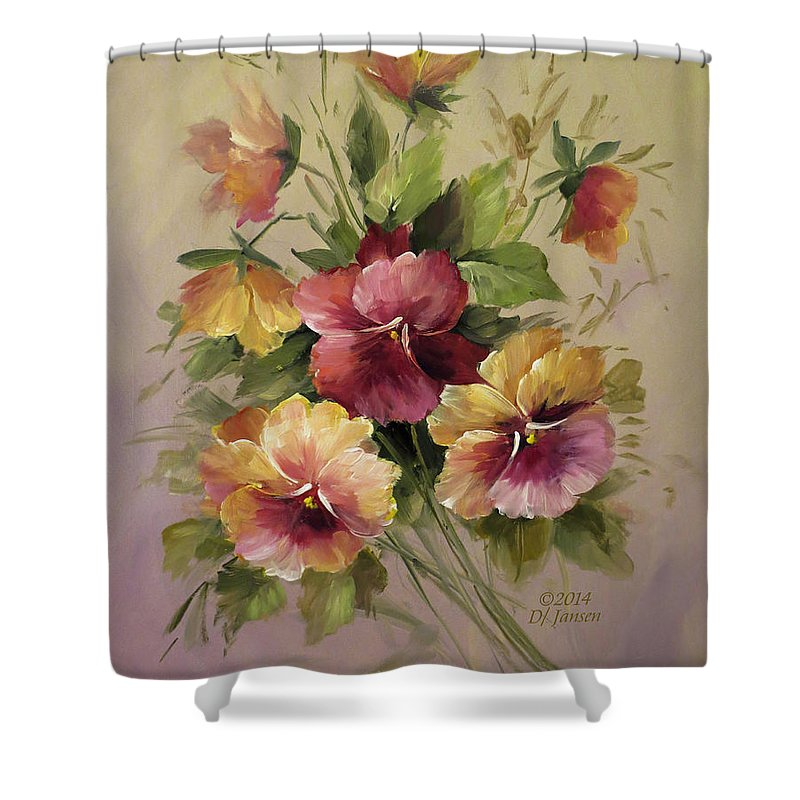 Roses Shower Curtain Featuring The Painting Pansies By David Jansen