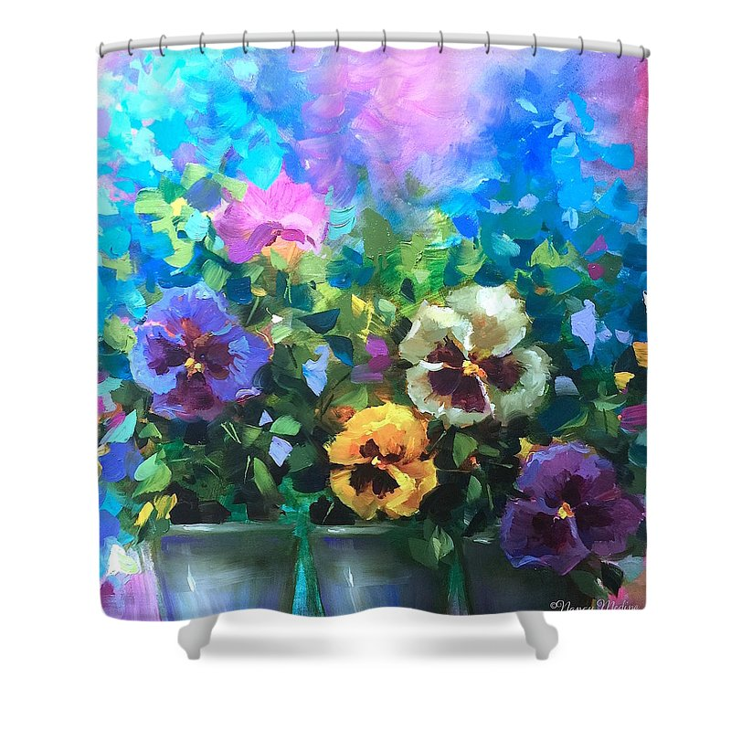 Pansies Shower Curtain Featuring The Painting Pansy Dance By Nancy Medina