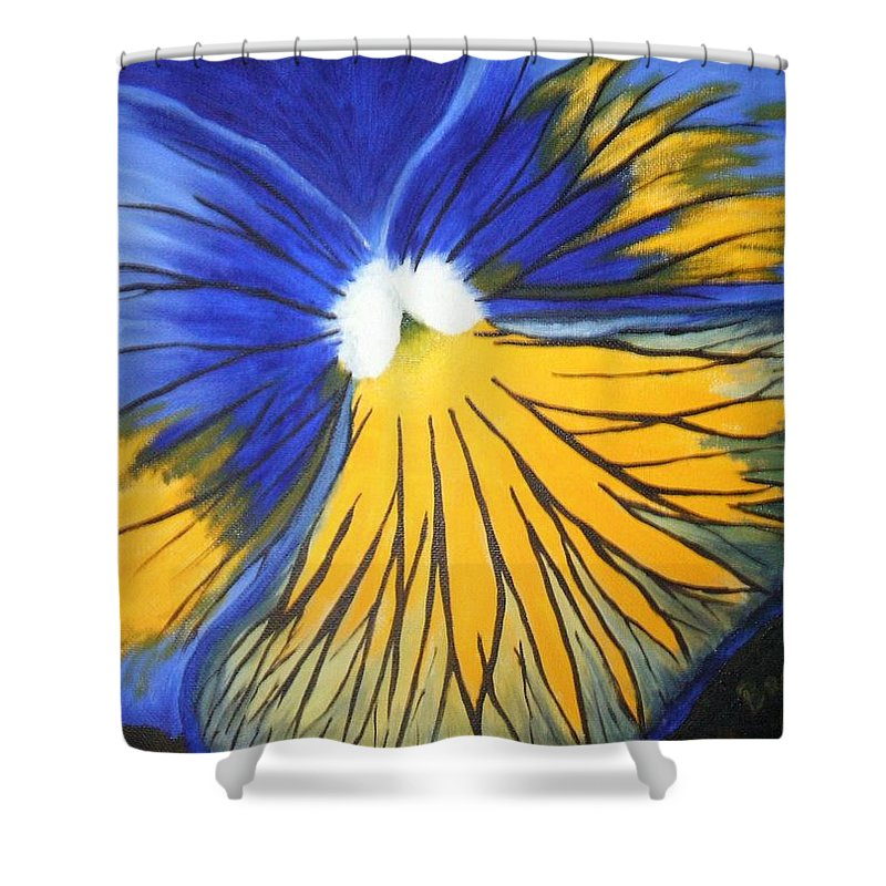 Pansy Shower Curtain featuring the painting Pansy Face by Brandy House