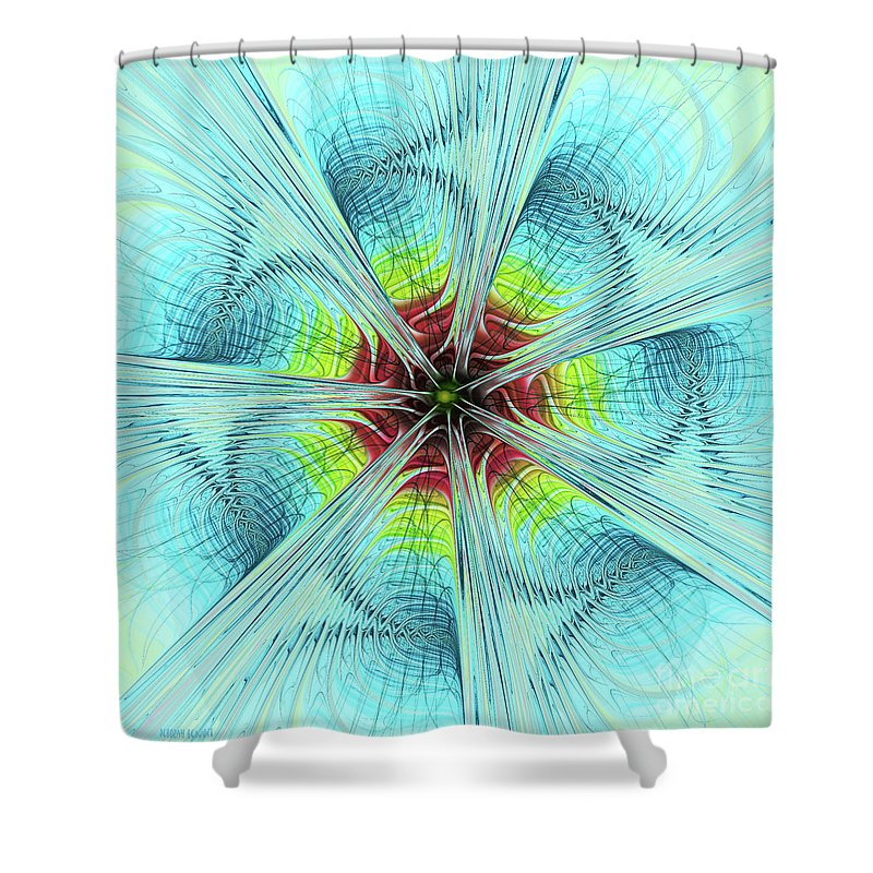 Pansy Fractal Shower Curtain featuring the digital art Pansy Fractal by Deborah Benoit