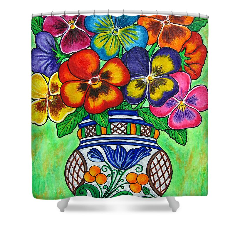 Flower Shower Curtain featuring the painting Pansy Parade by Lisa Lorenz