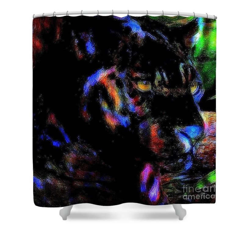Panther Shower Curtain featuring the painting Panther by Wbk