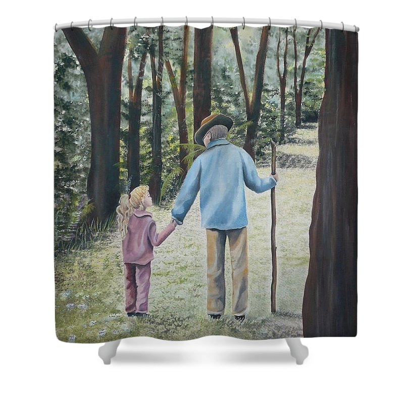 Grandfather Shower Curtain featuring the painting Papa by Kris Crollard
