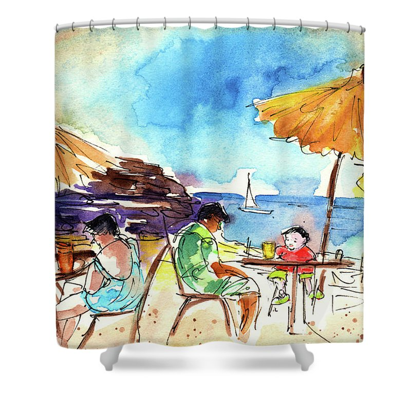 Travel Shower Curtain featuring the painting Papagayo Beach Bar In Lanzarote by Miki De Goodaboom