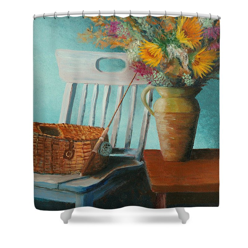 Floral Shower Curtain featuring the painting Papa's Pole by Jerry McElroy