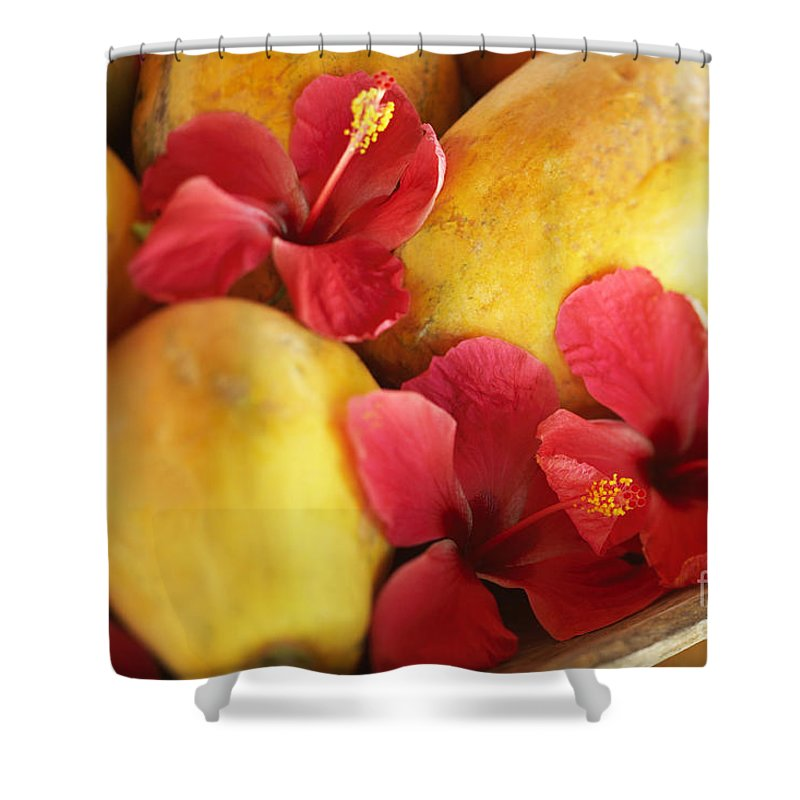 Blur Shower Curtain featuring the photograph Papaya Fruit And Hibiscus by Kyle Rothenborg - Printscapes