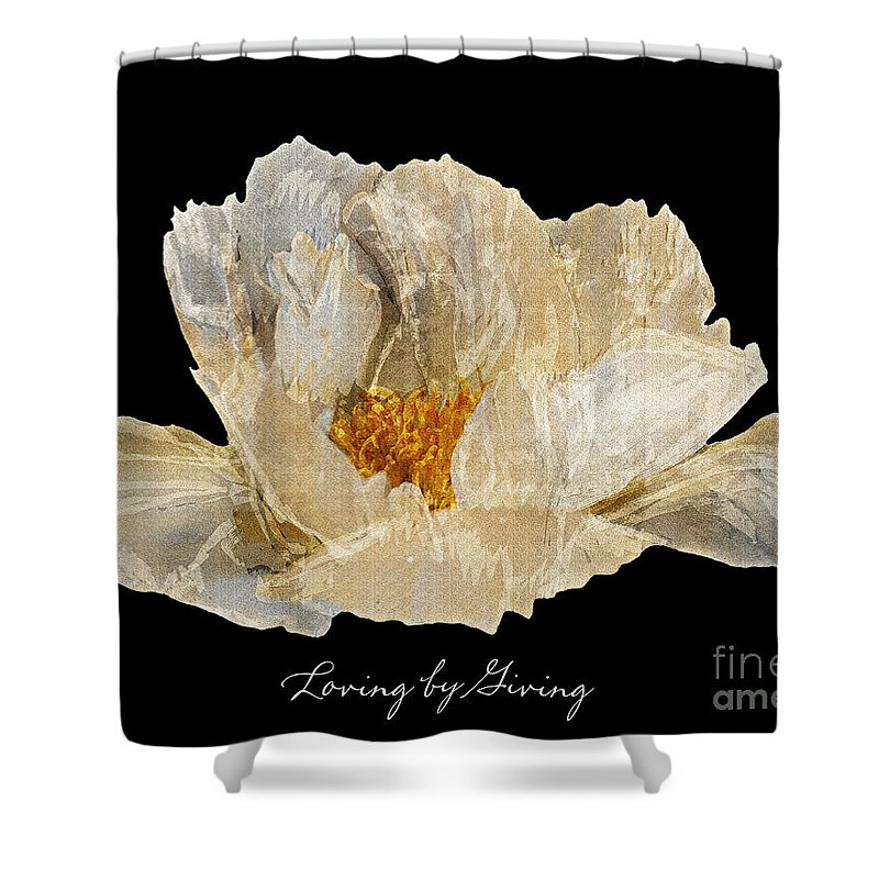 Diane Berry Shower Curtain featuring the photograph Paper Peony Loving By Giving by Diane E Berry
