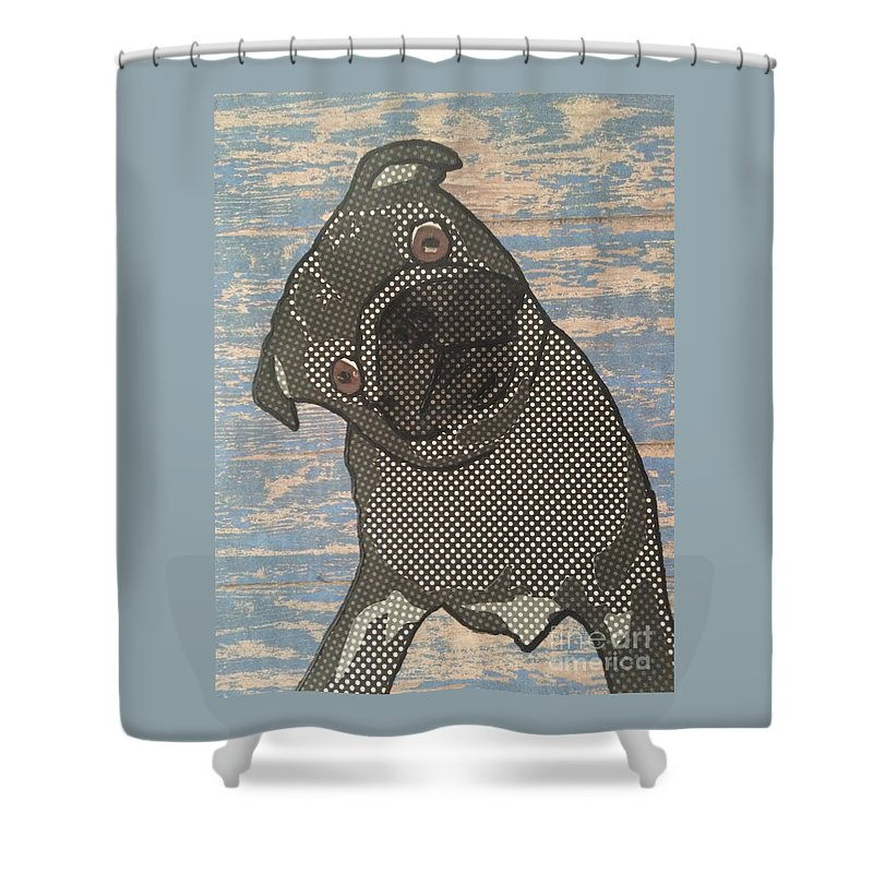 Shower Curtain featuring the mixed media Paper Pug by Purely Pugs Design