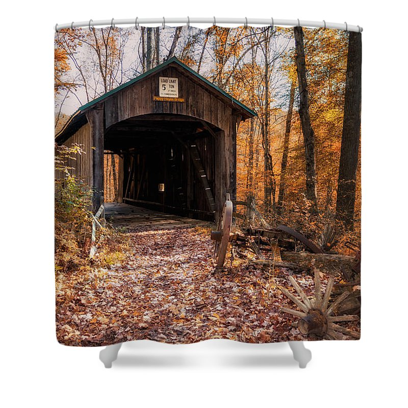 Architecture Shower Curtain featuring the photograph Pappy Hayes Covered Bridge by Tom Mc Nemar