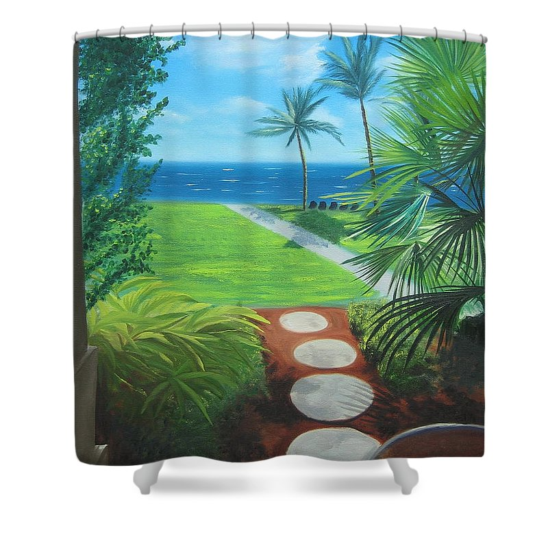 Seascape Shower Curtain featuring the painting Paradise Beckons by Lea Novak