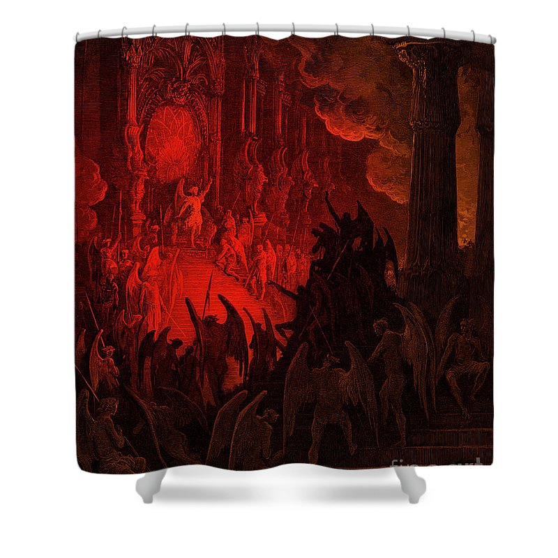 Paradise Lost Shower Curtain featuring the drawing Paradise Lost Satan In Council by Gustave Dore