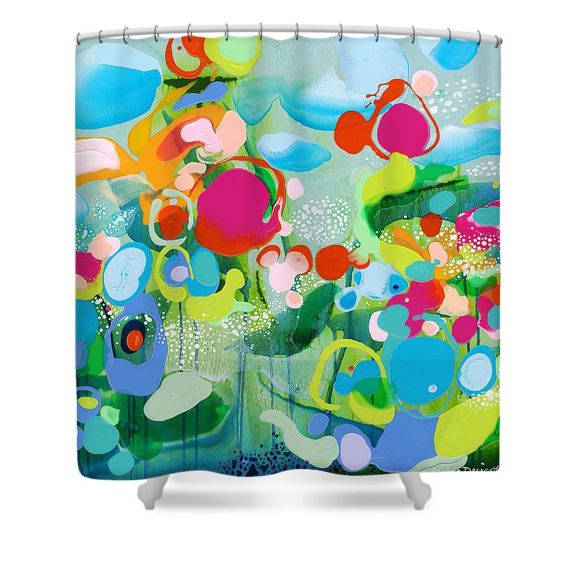 Abstract Shower Curtain featuring the painting Paradise Outer Limits by Claire Desjardins