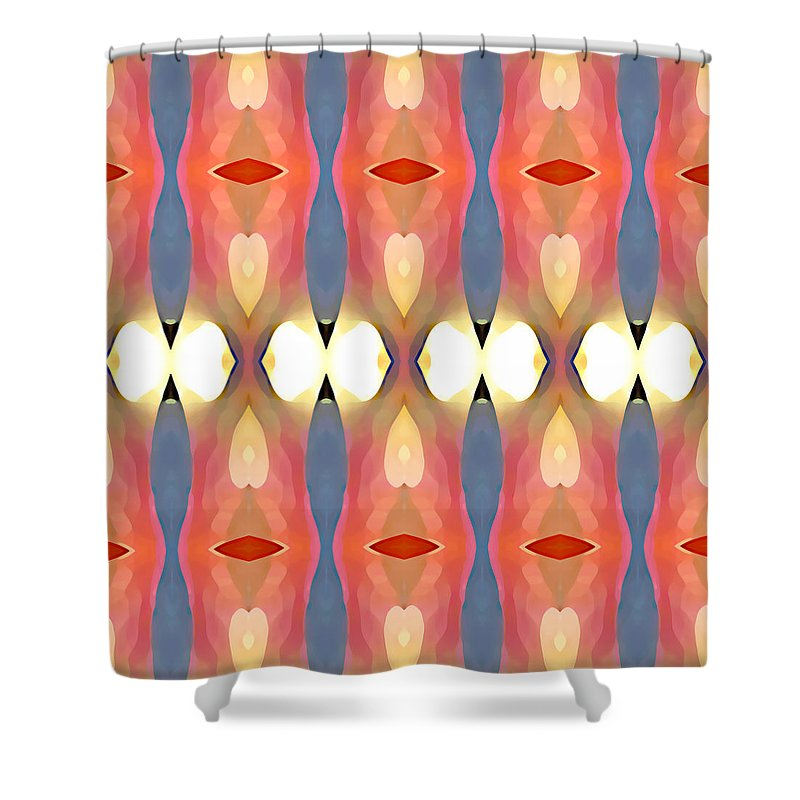 Abstract Art Shower Curtain featuring the painting Paradise Repeated by Amy Vangsgard