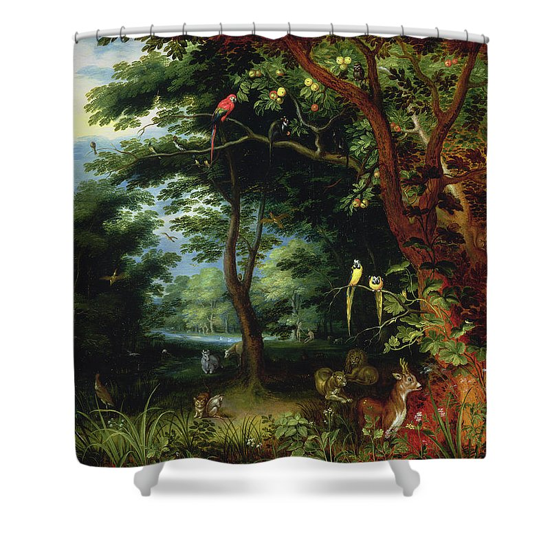 Paradise Shower Curtain featuring the painting Paradise Scene With Adam And Eve by Jan the Younger Brueghel