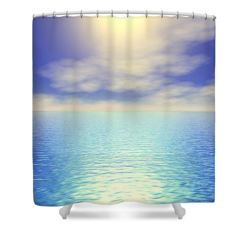 Blue Shower Curtain featuring the digital art Paradise Sky by Elaine Greywalker