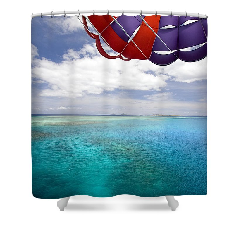 Adrenaline Shower Curtain featuring the photograph Parasail Over Fiji by Dave Fleetham - Printscapes