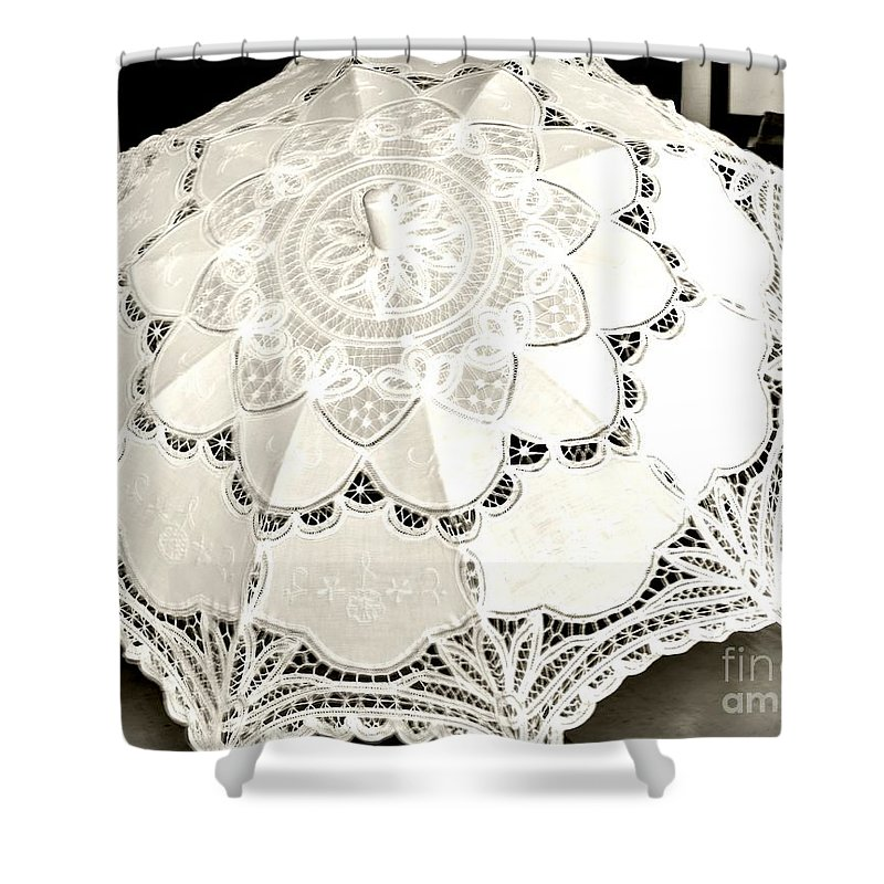 White Shower Curtain featuring the photograph Parasol Display by Kathleen Struckle