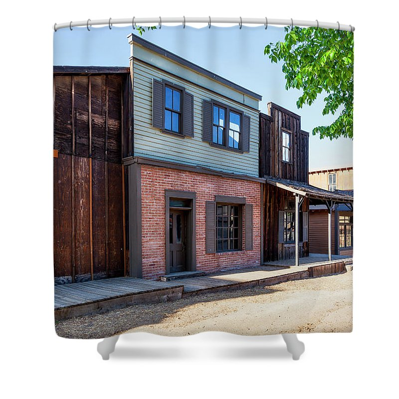 Ghost Town Shower Curtain featuring the photograph Parimount Ranch Bank by Gene Parks