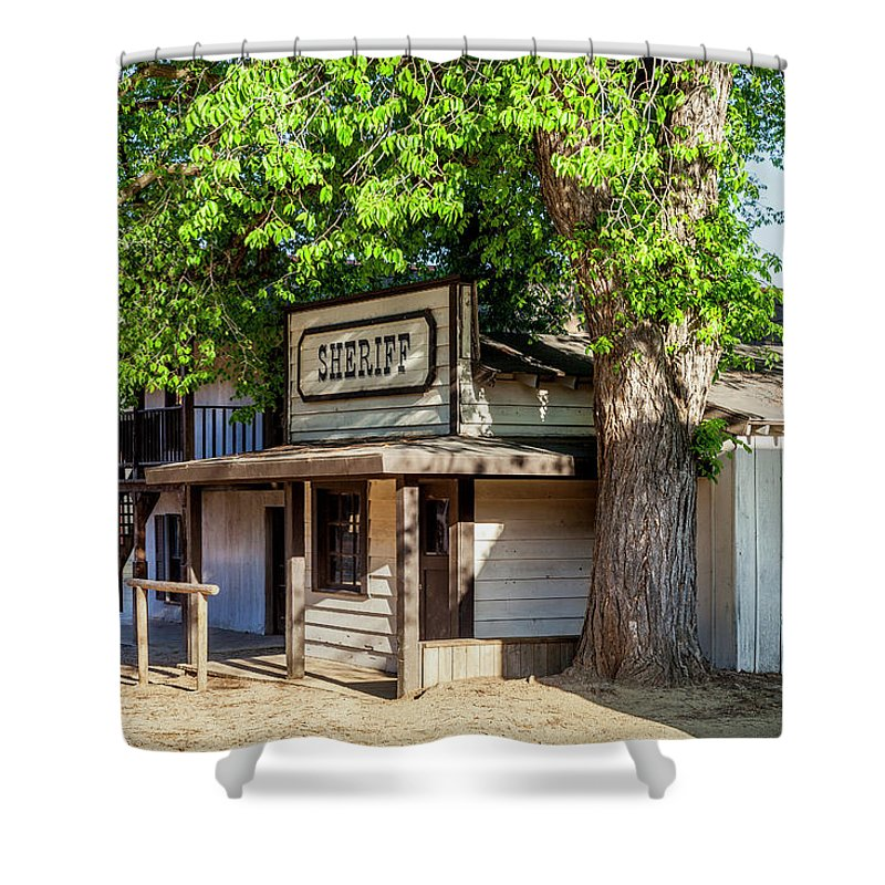 Ghost Town Shower Curtain featuring the photograph Parimount Ranch Sheriff Office by Gene Parks