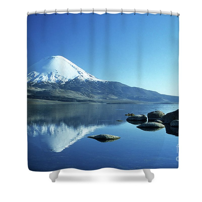Chile Shower Curtain featuring the photograph Parinacota Volcano Reflections Chile by James Brunker