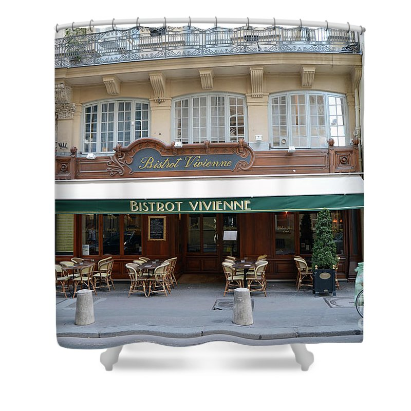 Bistros Shower Curtain featuring the photograph Paris Cafe Bistro Vivienne - Paris Cafes Bistro Restaurant-paris Cafe Galerie Vivienne by Kathy Fornal