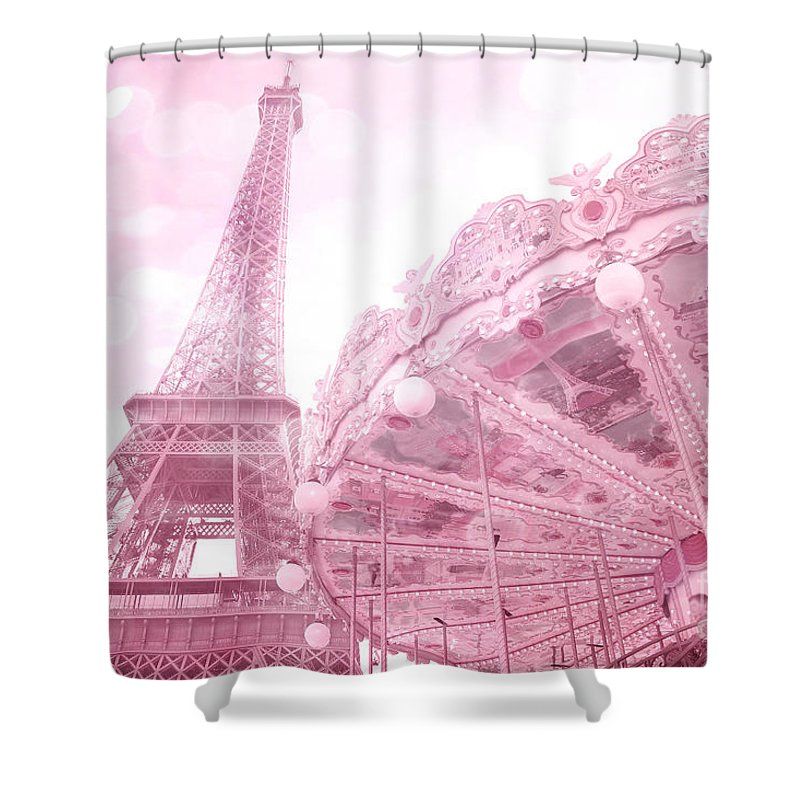 Eiffel Tower Shower Curtain Featuring The Photograph Paris Pink Carousel Merry Go Round With