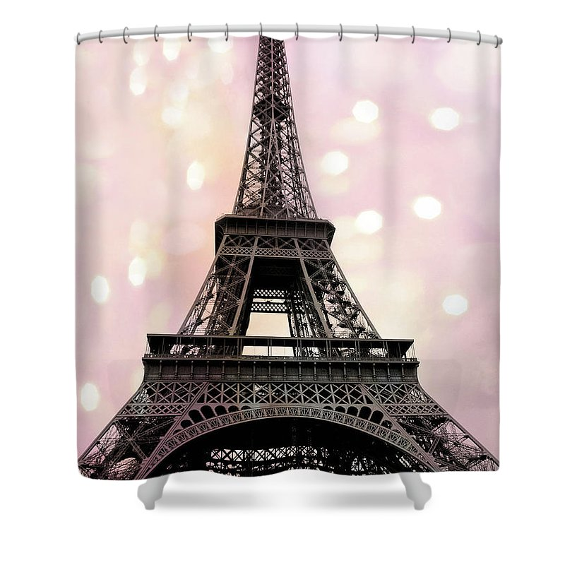 Paris Shower Curtain Featuring The Photograph Eiffel Tower Pink Fantasy Baby Girl Nursery Decor Prints