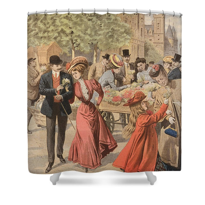 Flower Shower Curtain featuring the painting Paris Flower Market by French School