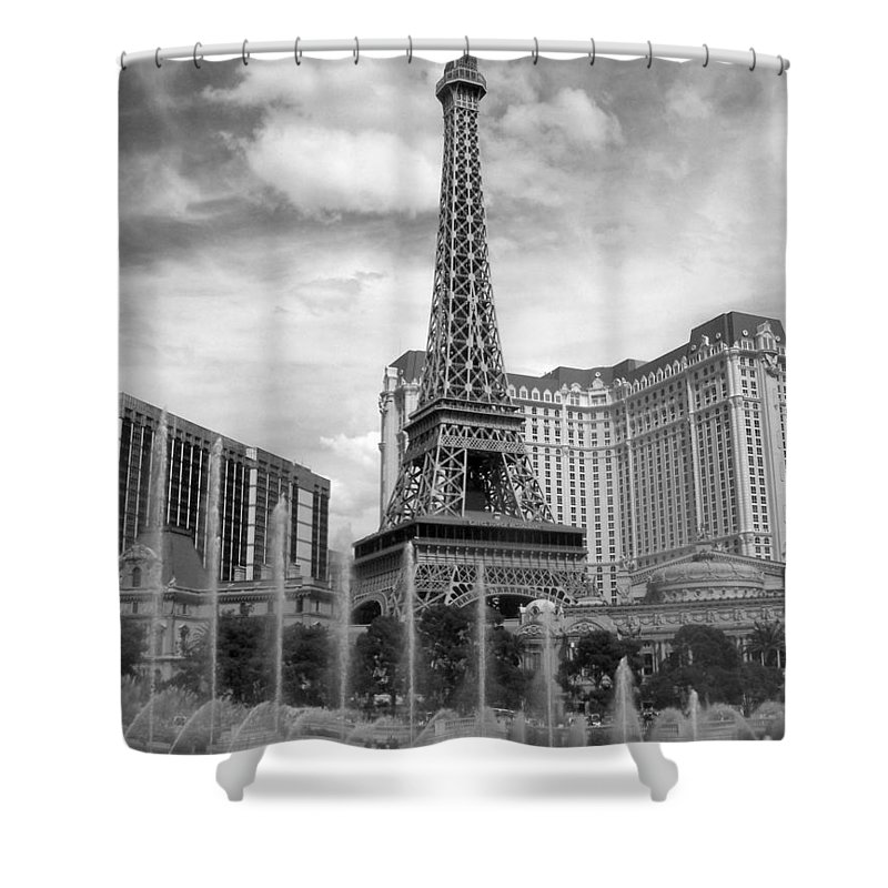 Paris Hotel Shower Curtain featuring the photograph Paris Hotel - Las Vegas B-w by Anita Burgermeister