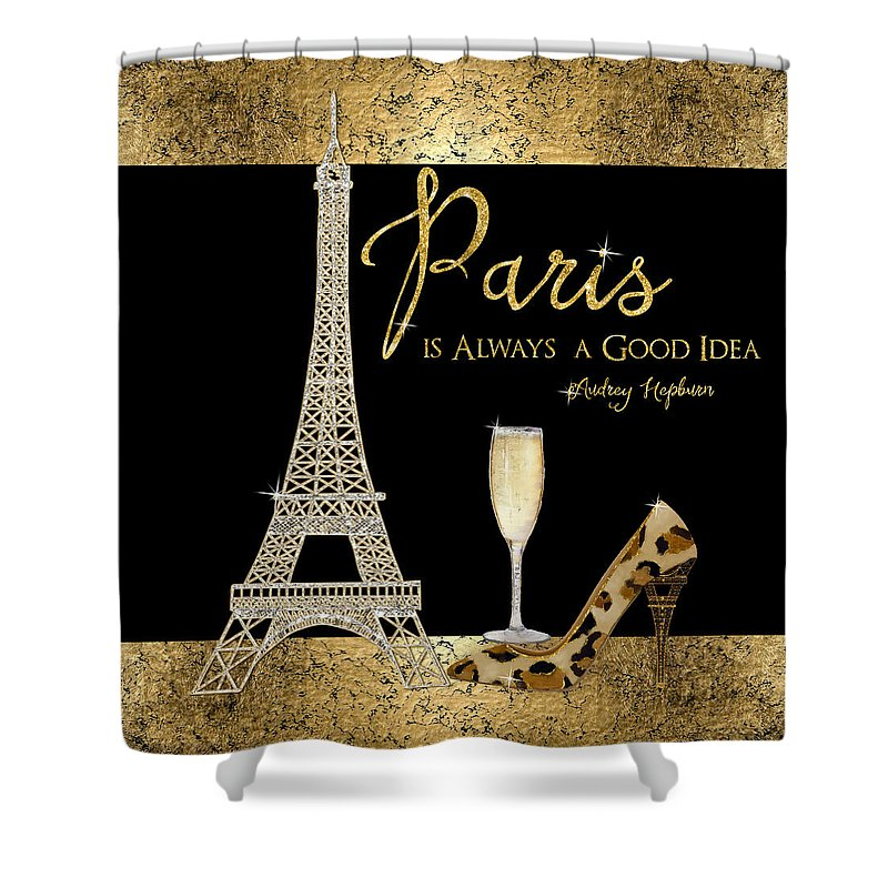 Paris Shower Curtain featuring the painting Paris Is Always A Good Idea - Audrey Hepburn by Audrey Jeanne Roberts