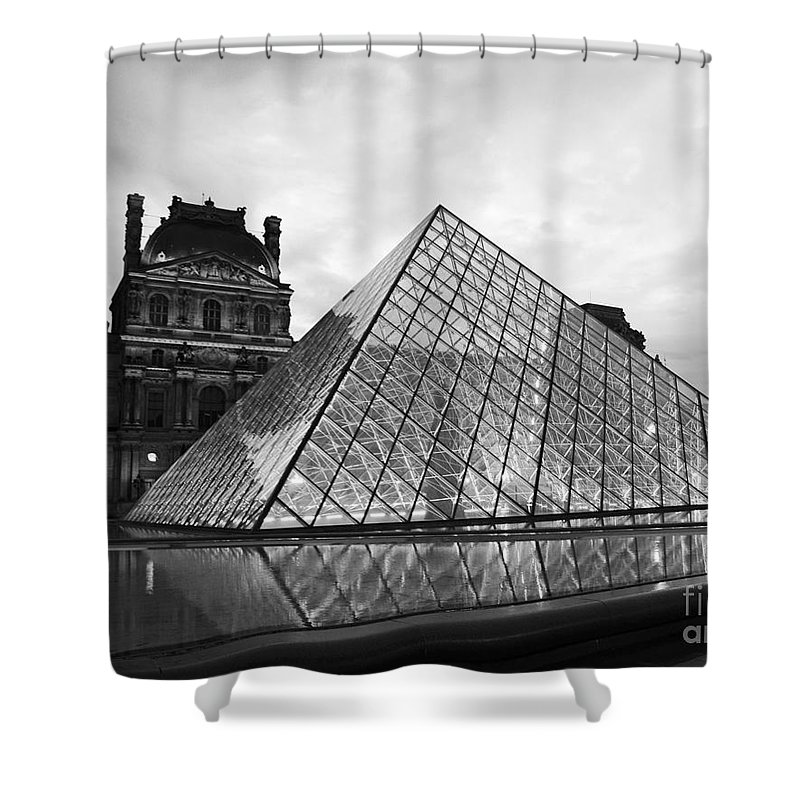 Paris Shower Curtain Featuring The Photograph Louvre Museum Pyramid Black And White