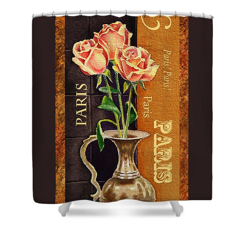 Rose Shower Curtain featuring the painting Paris Roses by Irina Sztukowski