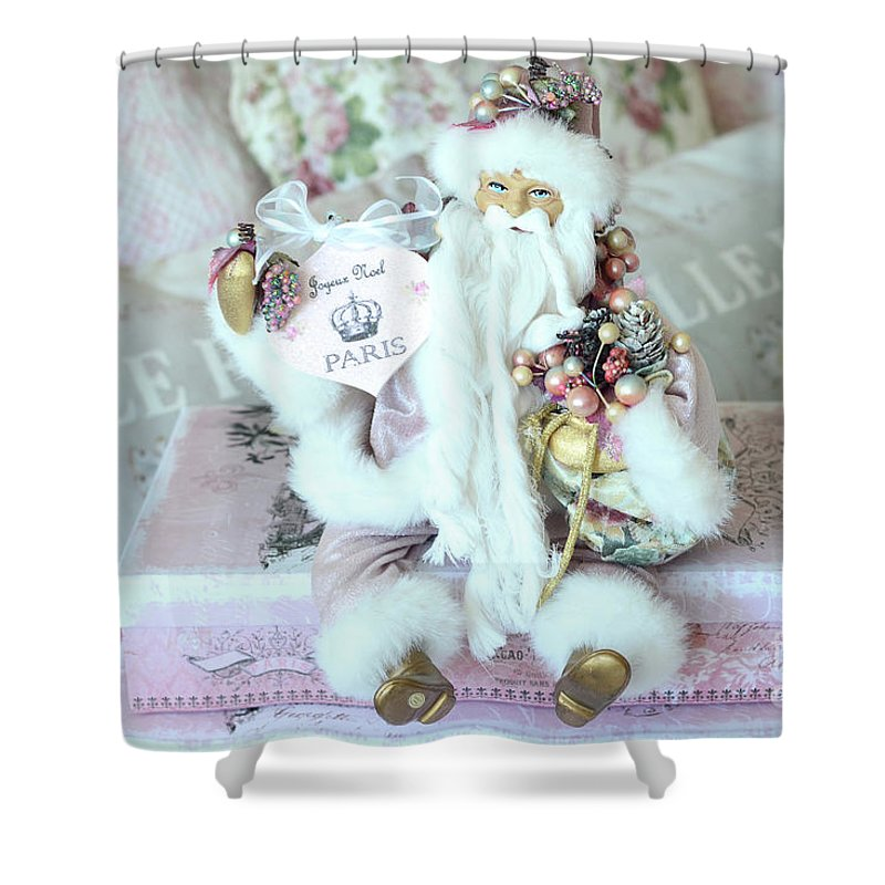 Paris Santa Claus Prints Shower Curtain featuring the photograph Paris Shabby Chic Pink And White Santa - Joyeux Noel - Shabby Chic Santa Claus Prints Home Decor by Kathy Fornal