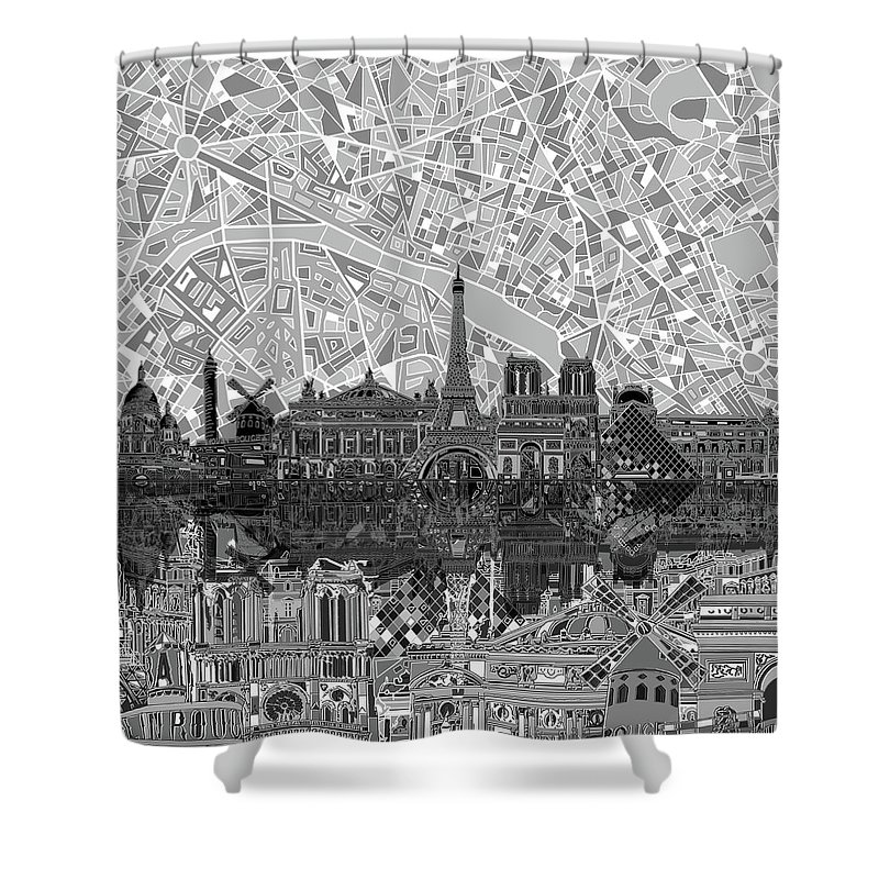 Paris Skyline Black And White Shower Curtain For Sale By Bekim Art