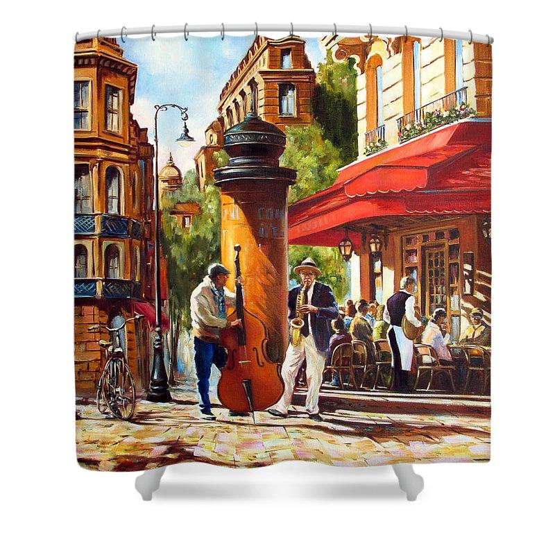 Paris Shower Curtain featuring the painting Paris, Street Musicians by Roman Fedosenko