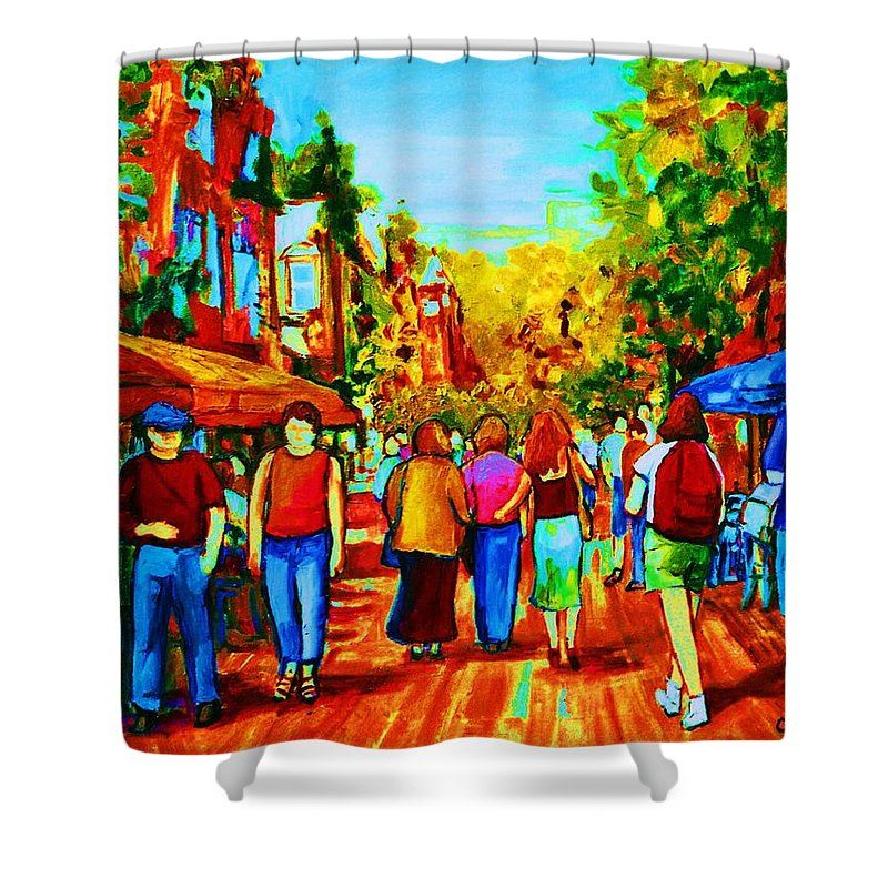 Cafe Scenes Shower Curtain featuring the painting Parisian Cafes by Carole Spandau