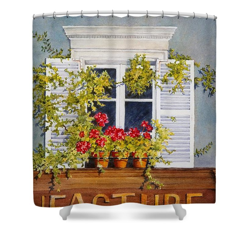 France Shower Curtain featuring the painting Parisian Window by Mary Ellen Mueller Legault