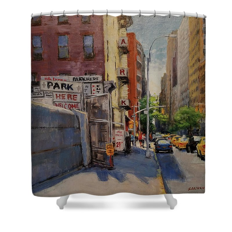 Manhattan Shower Curtain featuring the painting Park Here by Peter Salwen