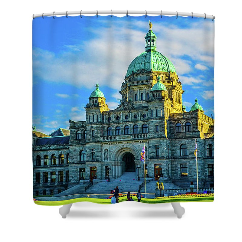 Buildings Shower Curtain featuring the photograph Parliament Victoria BC by Jason Brooks