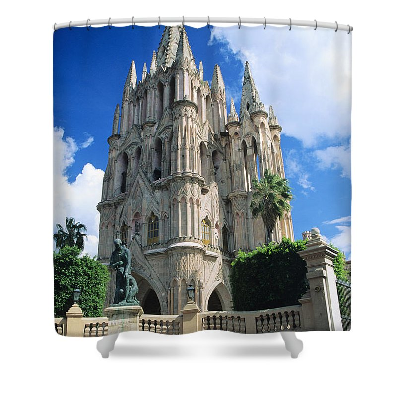 Architecture Shower Curtain featuring the photograph Parroquia Church by Kyle Rothenborg - Printscapes