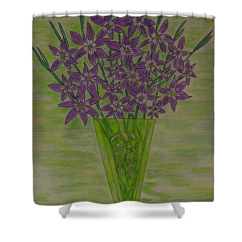 Parrott Shower Curtain featuring the painting Parrot Green Depression Glass by Kathy Marrs Chandler