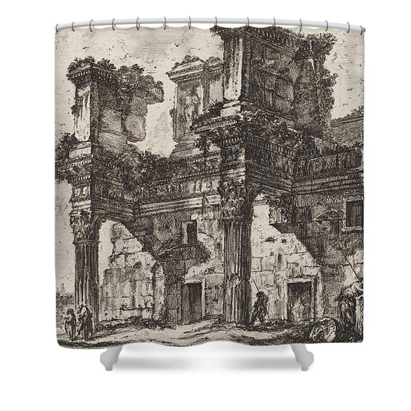 Shower Curtain featuring the drawing Parte Di Foro Di Nerva by Giovanni Battista Piranesi