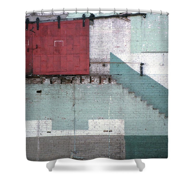 Abstract Shower Curtain featuring the photograph Partial Demolition by Richard Rizzo