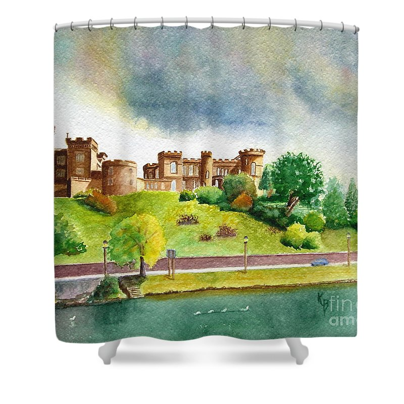 Scotland Shower Curtain featuring the painting Partly Cloudly by Karen Fleschler