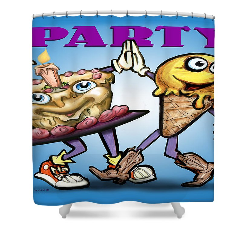 Party Shower Curtain featuring the greeting card Party by Kevin Middleton