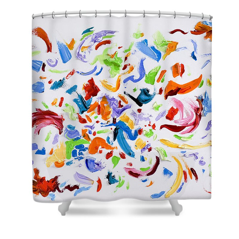 Red Shower Curtain featuring the painting Party by Shannon Grissom