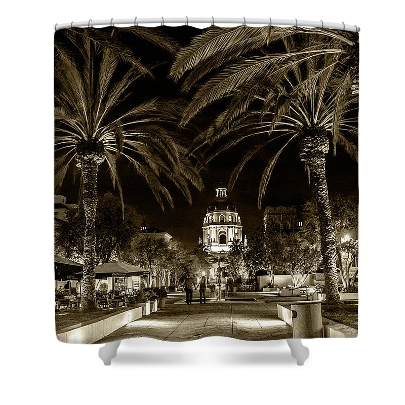Pasadena Shower Curtain featuring the photograph Pasadena City Hall After Dark In Sepia Tone by Randall Nyhof