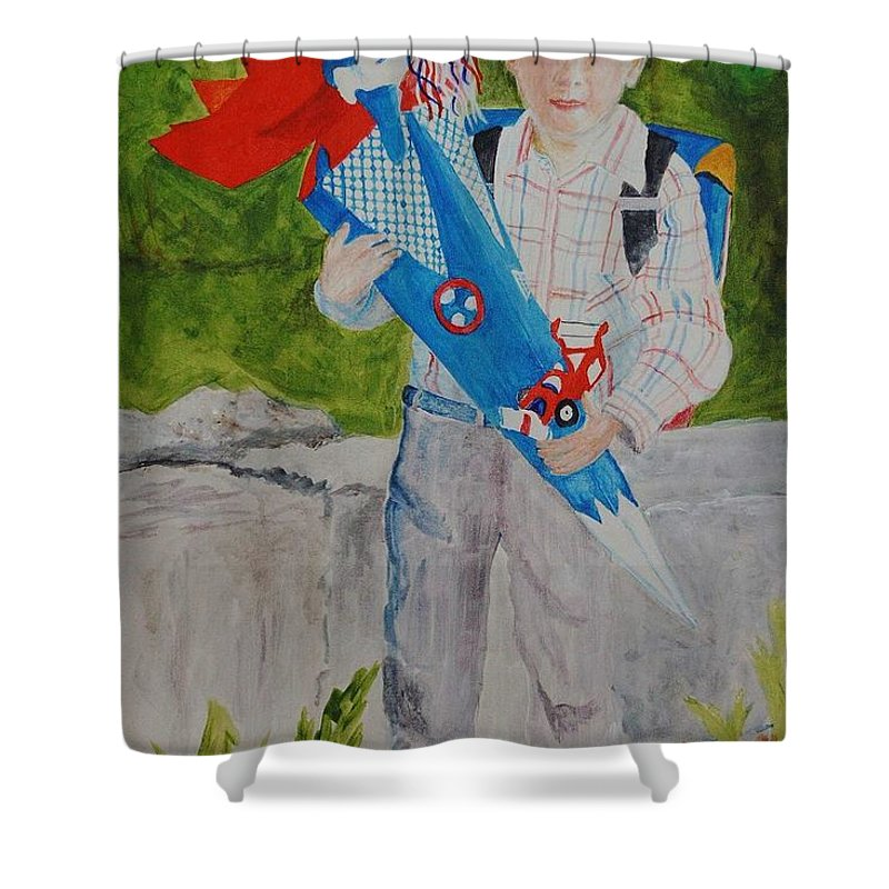 School Shower Curtain featuring the painting Pascals First Day At School 2004 by Helmut Rottler