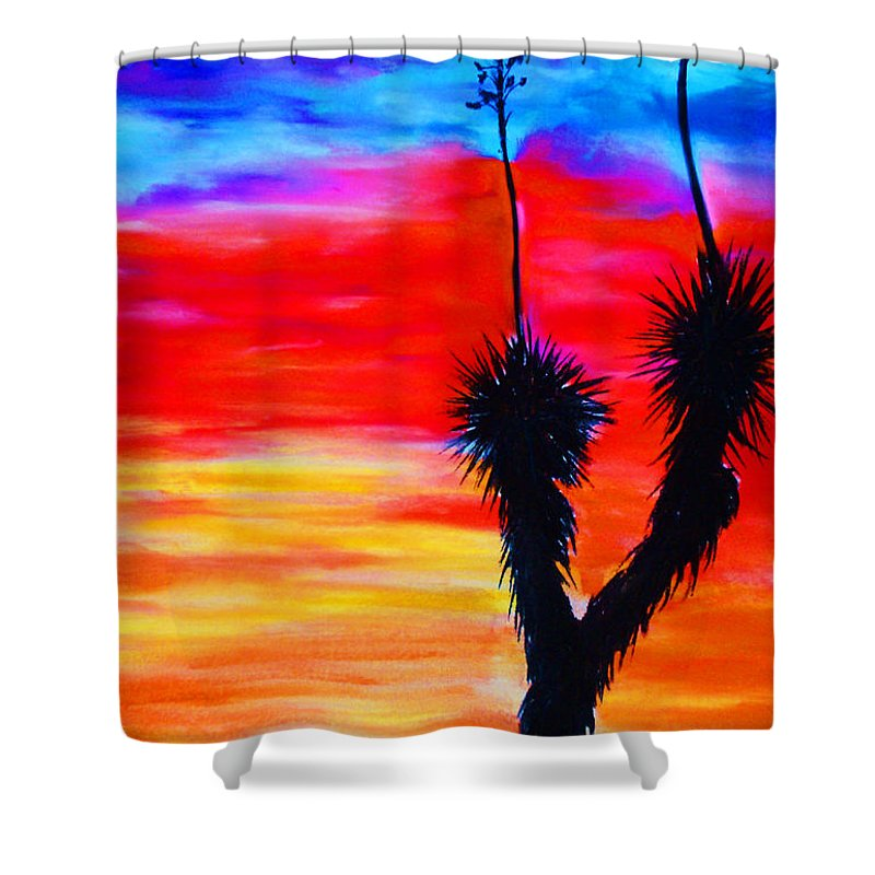 Sunset Shower Curtain featuring the painting Paso Del Norte Sunset 1 by Melinda Etzold